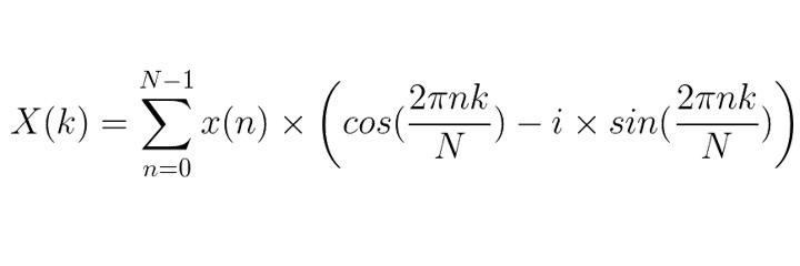 X(k) = sum x cos sin 2Pink fourier transform formula equation
